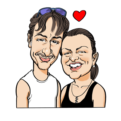 Caricatura coppia 50 anni
