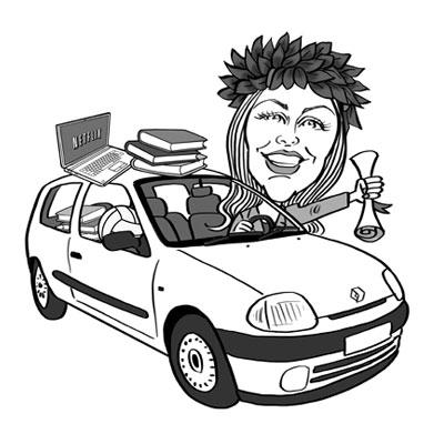 caricatura laurea in auto clio