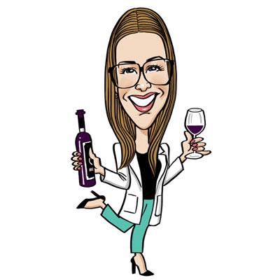 caricatura laurea ragazza con vino