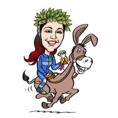 caricatura laureata a cavallo
