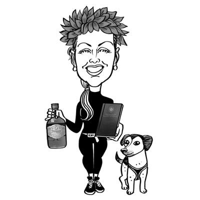 caricatura laureata con cane
