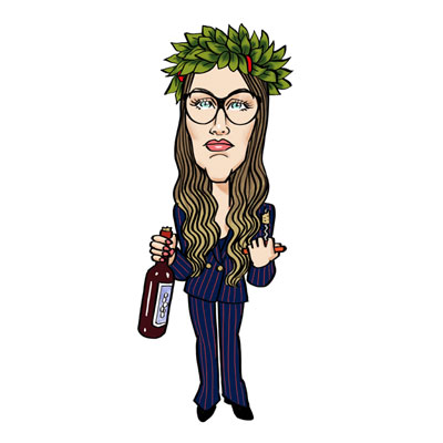caricatura laureata con vino
