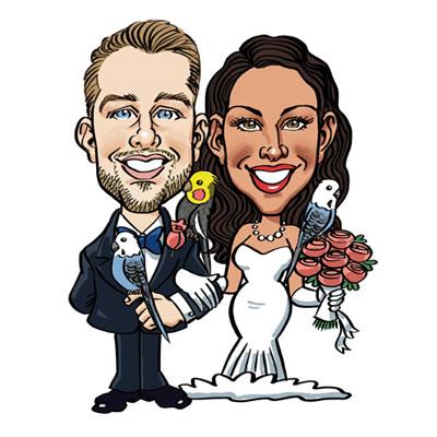 caricatura sposi con pappagalli