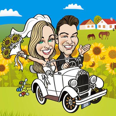 caricatura sposi in auto epoca