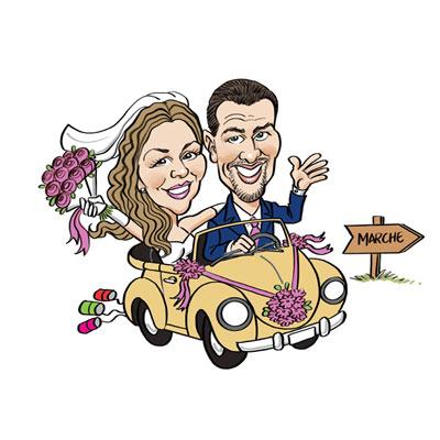 caricatura sposi in auto maggiolone