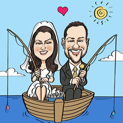 caricatura sposi in barca