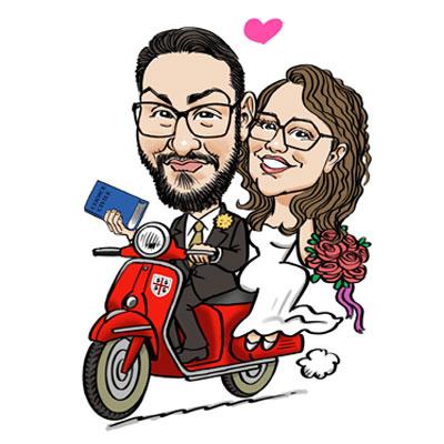 caricatura sposi in vespa